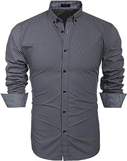 COOFANDY Men's Slim Fit Dress Shirt Long Sleeve Business Plaid Button Down Collar Shirt