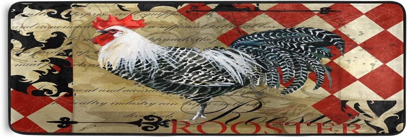 Vintage Rooster Farmhouse Max 58% OFF Runner Rug Kitchen Laun Farm Albuquerque Mall Bird Cock