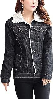 Women's Winter Basic Single Breasted Sherpa Lined Denim Trucker Jacket