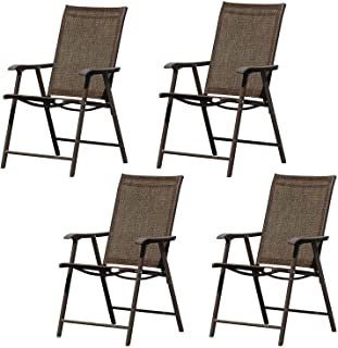 Aoodor 4 Sets Folding Patio Chairs for Indoor&Outdoor - Brown