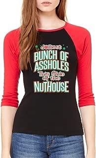 Cosmozz Jolliest Bunch of As.Holes 3/4 Sleeve Ugly Sweater Holiday Raglan Baseball Shirt
