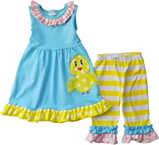 ABC Kids Baby Little Girls Happy Spring Easter Outfits - Capris Playwear Knit Sets Lilac
