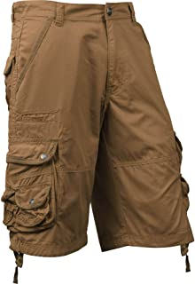 Mens Premium Cargo Shorts Loose Fit Twill Pocket Outdoor Wear