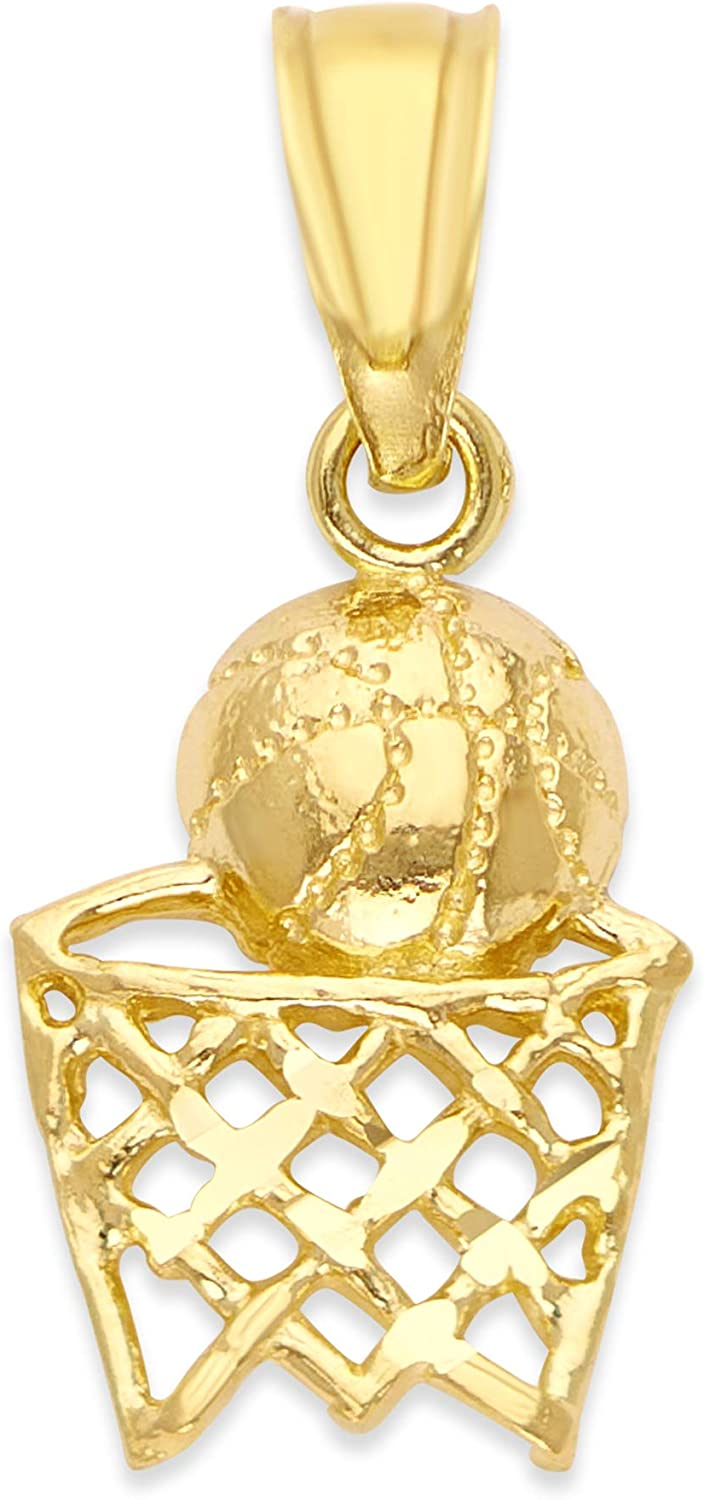10k Real Solid Gold Basketball Pendant for Necklace, Sports Jewelry Gifts for Him