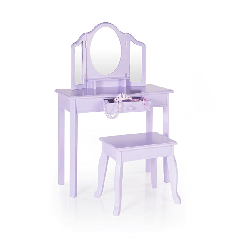 Guidecraft Vanity and Stool – Lavender: Children's Table and Chair Set with 3 Mirrors and Make-Up Drawer Storage - Kids' Room Furniture