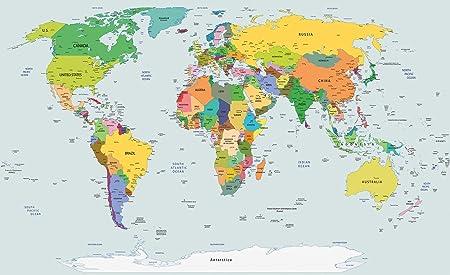 Mappamondo Geografico Cartina.Forwall Amf20263 Ve Carta Da Parati In Tessuto Non Tessuto Motivo Cartina Geografica Planisfero Tessuto Non Tessuto Blau Gelb Grun Vem 104cm X 70 5cm Amazon It Casa E Cucina