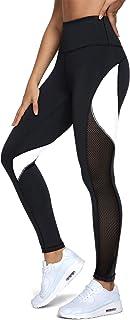 QUEENIEKE Femmes Yoga Pantalons Color Blocking Mesh Workout Running Leggings Collants