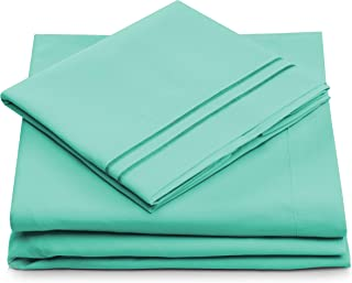 King Size Bed Sheets - Pastel Green Luxury Sheet Set - Deep Pocket - Super Soft Hotel Bedding - Cool & Wrinkle Free - 1 Fitted, 1 Flat, 2 Pillow Cases - Mint King Sheets - 4 Piece
