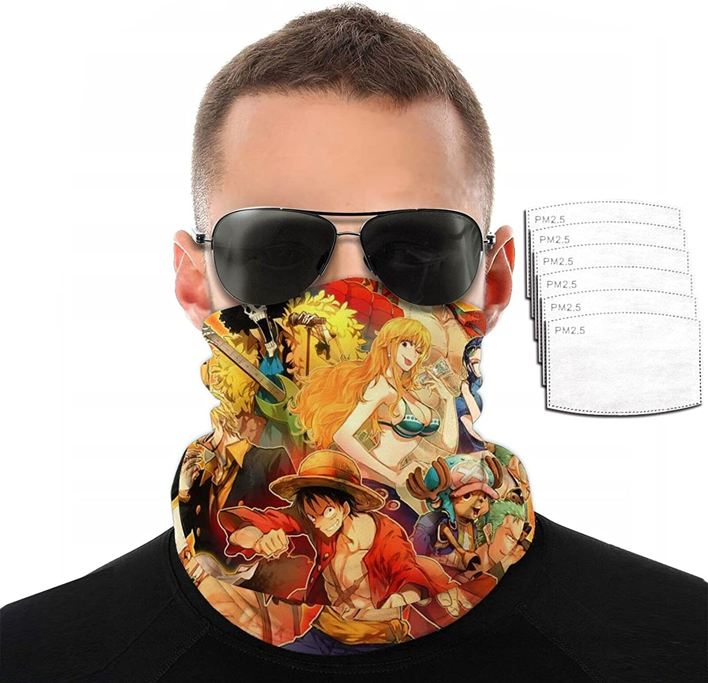 One Piece Anime Face Cover Mouth Mask Bandana Neck Gaiter for mountain climbing