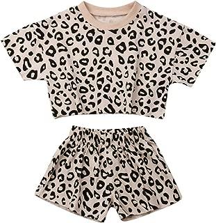 mettime Baby Girls Cotton Leopard Short Sleeve T-Shirt Top & Short Pants 2pcs Kids Girls Outfits 6 Months - 4 Years Clothes Set