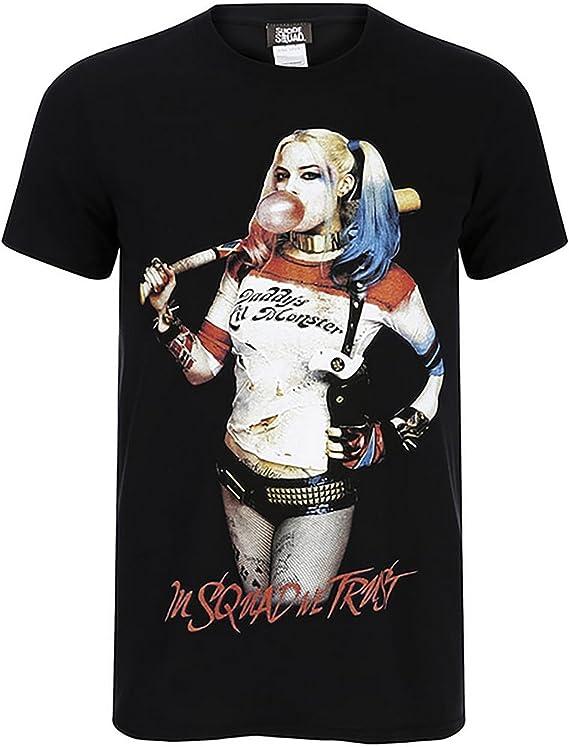 Suicide Squad - Camiseta Modelo Harley Quinn con Chicle para Hombre