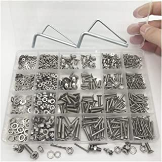 Screw 1060pcs/BoxHex Socket Screws Set M2 M3 M4 M5 304 Stainless Steel Flat Round Cap Head Screws Bolts Gasket and Nuts As...