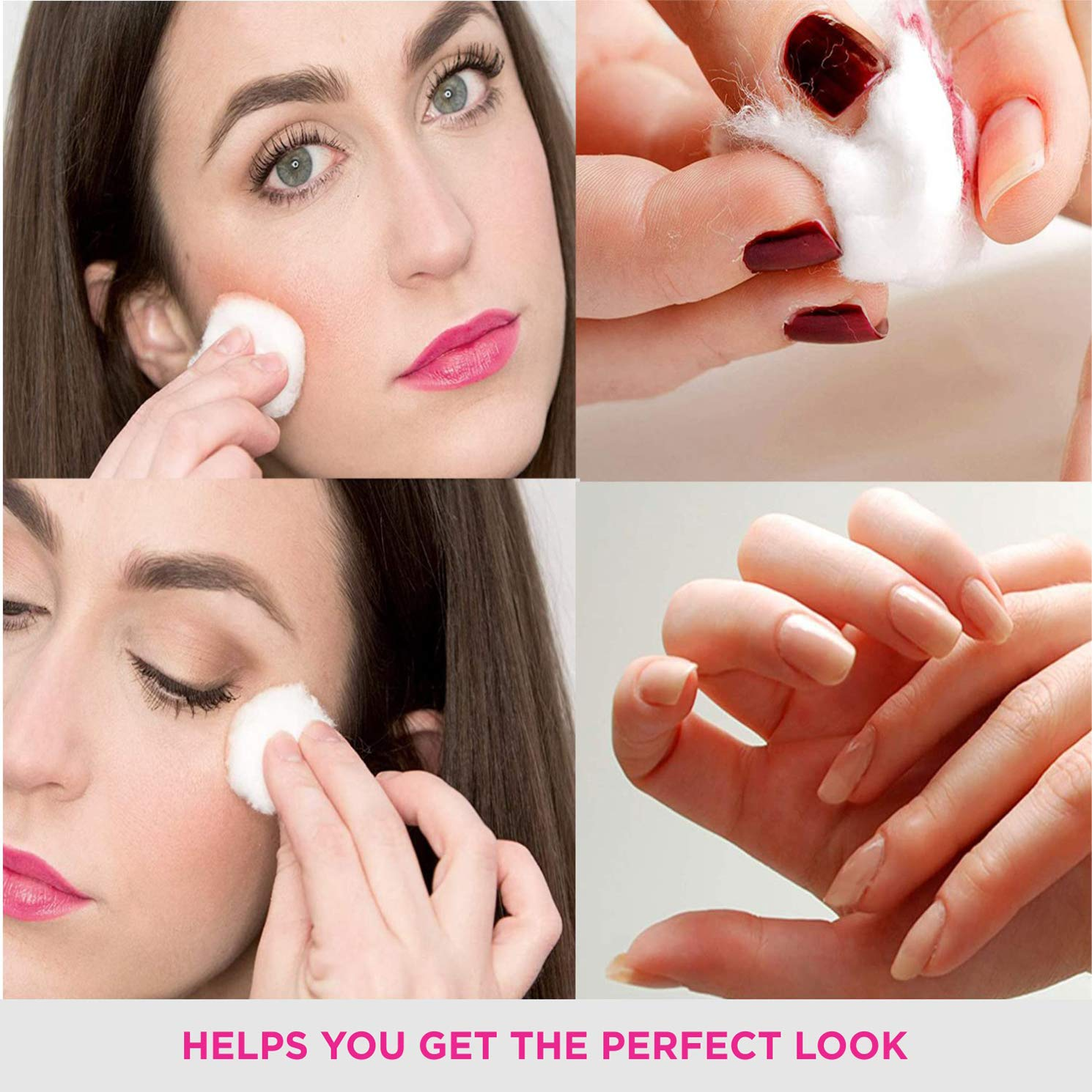 VEGA Cotton Ball for Eye, Face Makeup and Nail Paint Remover (Pack Of 50)