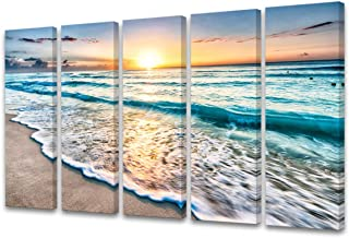 Cao Gen Decor Art-S58858 5 Panels Blue Beach Sunrise White Wave Pictures Painting on Canvas Wall Art Stretched and Framed Seascape Giclee Canvas Prints for Home Office Decorations Large Artwork