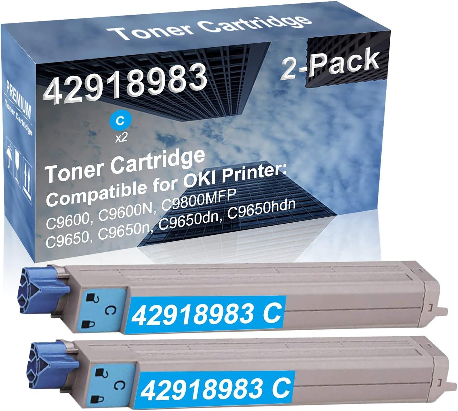 2-Pack (Cyan) Compatible High Yield 42918983 Laser Printer Toner Cartridge Used for OKI Okidata C9650n, C9650dn, C9650hdn Printer