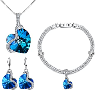 Menton Ezil Charming Nobile Swarovski Jewelry Sets with Sapphire Blue Necklace 18K White Gold Bracelet Earrings for Women