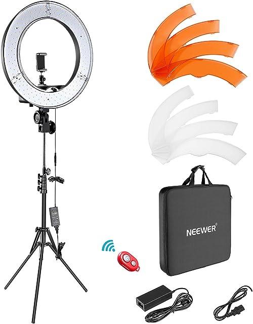 Neewer Iluminación Kit: 48cm Exterior 55W 5500K Regulable LED Luz del Anillo Soporte de Luz Receptor para el teléfono Inteligente Youtube para Autorretrato de Grabación