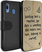 eSwish PU Leather Wallet Flip Case/Cover for Samsung Galaxy A20/A30 2019 / Working Hard/Believe Design/School of Magic Film Quotes Collection