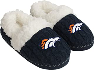 FOCO NFL Womens Team Color Fur Moccasin Slippers Shoe
