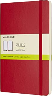 "Moleskine Classic Notebook, Soft Cover, Large (5"" x 8.25"") Plain/Blank, Scarlet Red"