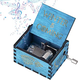 Imncya Wooden Music Boxes Theme Game of Thrones, Hand Crank Antique Retro Carved Wood Musical Box,18 Note Mechanism Home Decoration Vintage Classic Gifts for Kids Children Boyfriend Son Boys (Blue)