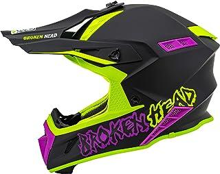 <h2>Broken Head TheHunter - Ultra leichter Motocross & Enduro Helm für Profis - Light Grün Pink - Größe XL 61-62 cm</h2>