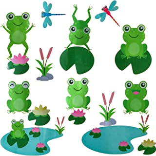 OOTSR Cute Frog Decals Wall Stickers Jumping Frogs with Dragonflies and Lotus - Pond Friends Frog Window Sticker Set Individual Peel and Stick Graphics on a (25.5 in W x 10.6 in H) Sticker Sheet
