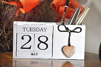 Frescorr(TM) - Calendar Block - Wooden Perpetual Desk Calendar - Home and Office Decor, (White) 6.5 x 2.0 x 3.5 inches, A Perfect Gift !!