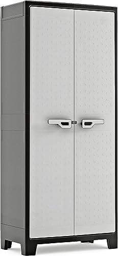 KETER | Armoire Haute TITAN, Noir/Gris, 80 x 44 x 182 cm, Plastique