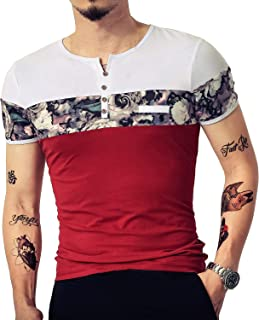 LOGEEYAR Men's Casual Slim Fit Short Sleeve Shirts Fashion Color Block Printing Henley T-Shirts