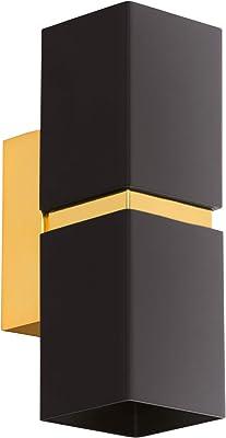 Eglo Applique Murale Led Passa - 2 Ampoules - Applique Murale Moderne - Intérieur en Métal Noir et Doré - Lampe de Salon - Lampe de Couloir avec Up And Down Light - Carré - Culot Gu10