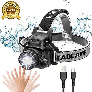 Linterna Frontal LED USB Recargable, IP65 Impermeable Linterna de Cabeza Super Ligera 90°Ajustable, 4 Modos de Luz LED con Sensor para Acampada,Pescar,Senderismo,Lectura,Caza