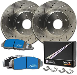 Max Brakes Rear Supreme Brake Kit [ Premium Slotted Drilled Rotors + Ceramic Pads ] KM091232 | Fits: 1999 99 BMW 323i Sedan Models with E46 Body or Convertible Models with E36 Body