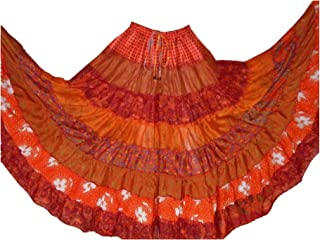 1 Assorted Tribal 7 Yard Gypsy Maxi Tiered Belly Dancing Skirt Silk Blend Banjara Fits M L