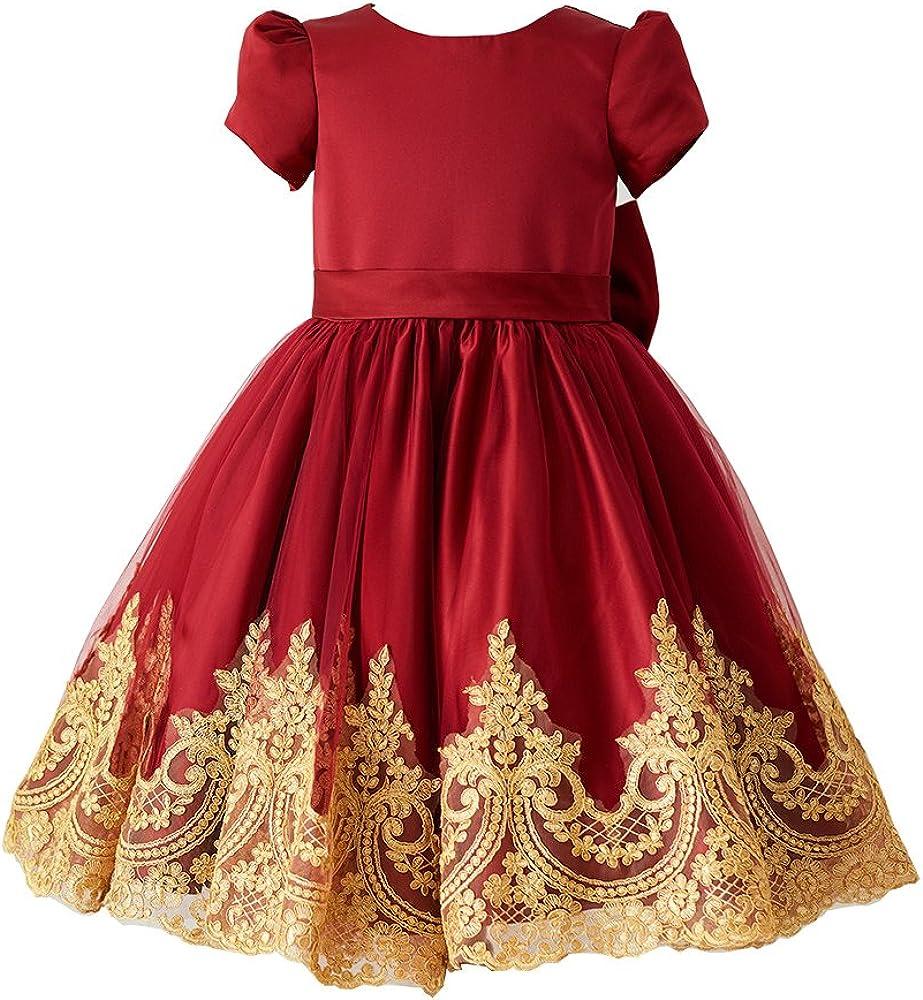 Miama Red Satin Gold Lace Short Sleeves Wedding Flower Girl Dress Junior Bridesmaid Dress