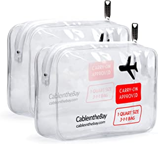 Cableinthebay TSA Approved Clear Travel Toiletry Bag(2PACK)|Clear Travel Bags|TSA Toiletry Bags|TSA Approved Makeup Bag|TSA Approved Toiletry Bag for Men's/Women's 3-1-1 Kit+Travel EBOOK (2PACK)