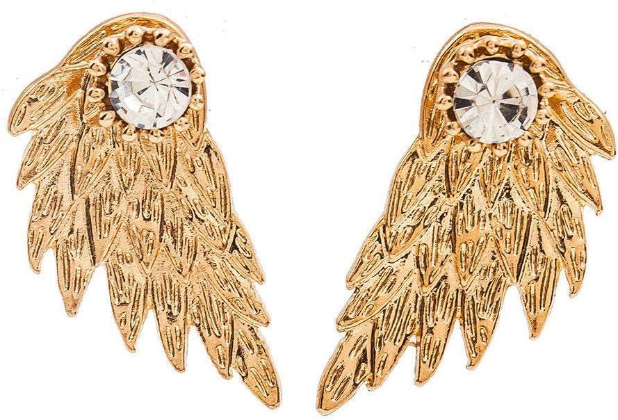 4 Pairs Angel Bird Wing Ear Jackets Cuff Earrings Clear Crystal Ear Studs