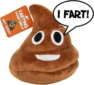 Poop Emoji Farting Plush Toy - Makes 7 Funny Fart Sounds – Simply Squeeze Fart Buddy to Activate & Hear Him Fart - Fun Dog Toy - New & Improved - Louder Farts - Measures a Super Cute 4 x 4.5