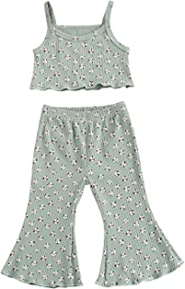 Bmnmsl Toddler Girl Bell-Bottom Pants Set Suspender Crop Tank Tops and Flares Outfit 2Pcs Floral Print Summer Clothes
