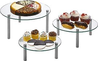 حامل عرض من الزجاج المقوى المستدير من 3 طوابق مقاس 9، و11، و33 سم للكعك والكب كيك والحلوى والخبز والمقبلات - مجموعة من 3 ق...