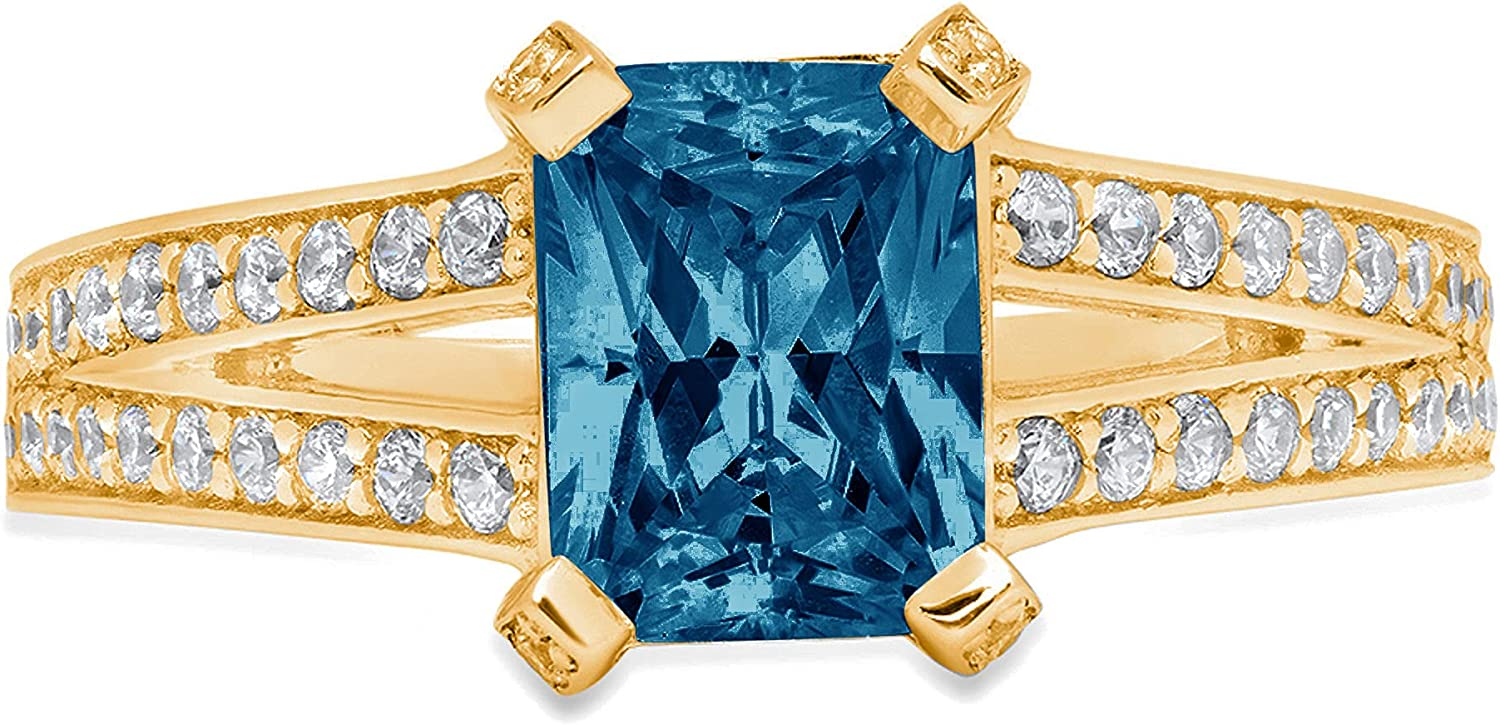 2.70 ct Emerald Cut Solitaire Accent split shank Genuine Flawless Natural London Blue Topaz Gemstone Engagement Promise Statement Anniversary Bridal Wedding Ring Solid 18K Yellow Gold