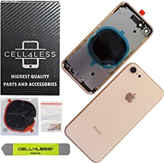 CELL4LESS Back Housing Assembly Metal Frame w/Back Glass - Wireless Charging pad - Sim Card Tray and Camera Frame and Lens for iPhone 8 (Gold)