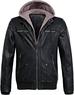 Men's Casual Removable Fleece Hooded Zip-Up Faux Leather Moto Bomber Jacket