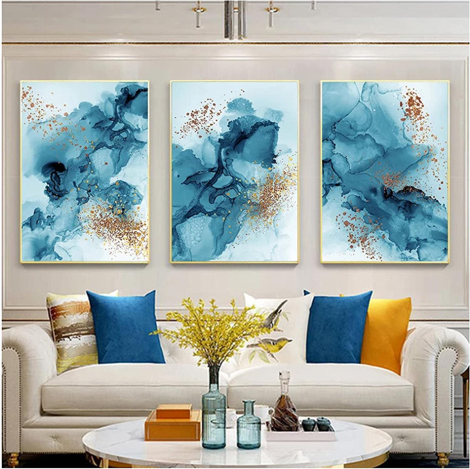 Canvas Picture Modern Blue Watercolor Ink Minimalis Max 48% OFF Poster Genuine Wall