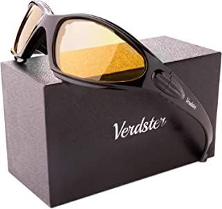 Verdster TourDePro Polarised Motorbike Sunglasses - Yellow Night Riding Lenses - Great for Motorcycle, Scooter & Chopper Riding, Night Driving - Foam Padded Wraparound Frame (Black/Yellow)