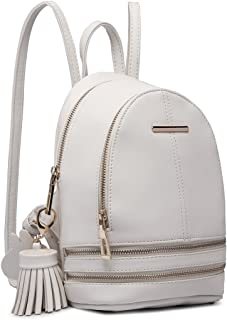 Miss Lulu Small Mini Casual Fashion Cute Saffiano Cross Pattern Pu Leather Satchel Backpack for Girls Women (1705 White)