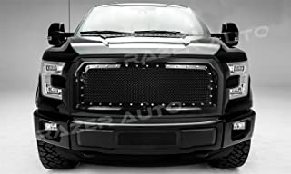 Razer Auto Gloss Black Rivet Studded Frame Mesh Grille Complete Factory Replacement Grille Shell for 15-17 2015-2017 Ford F150