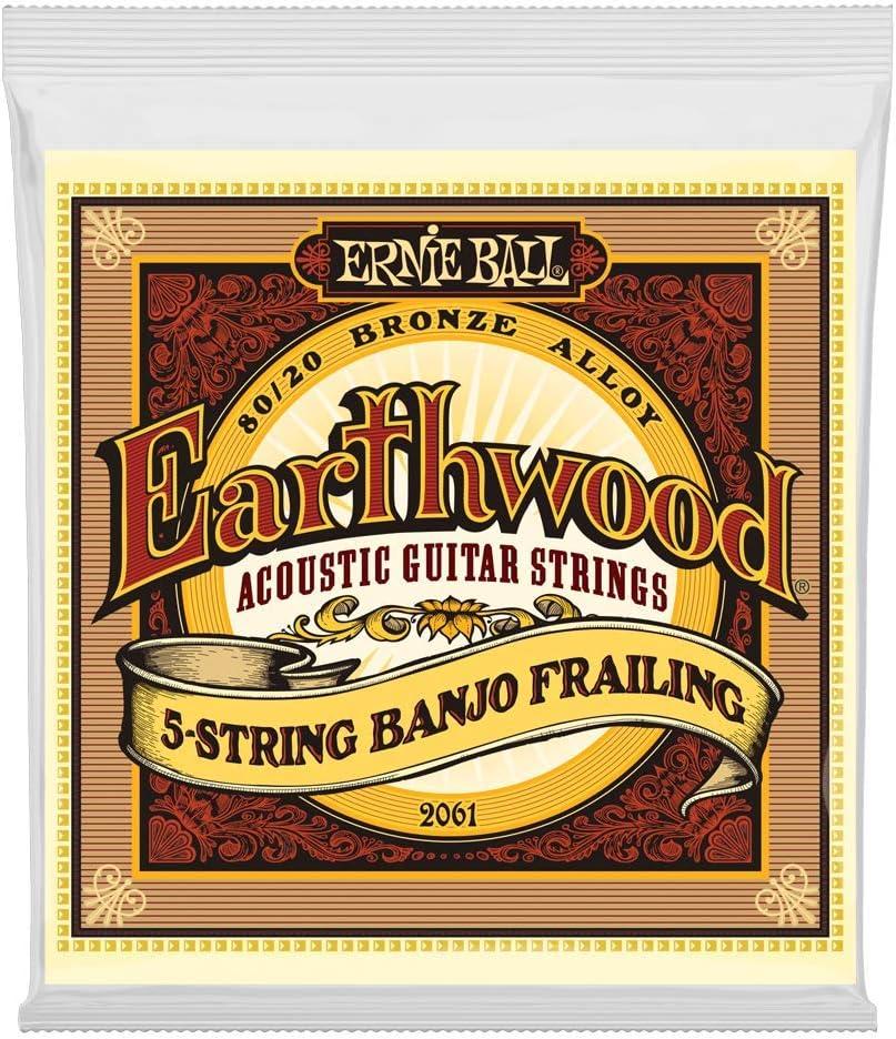 Ernie Ball Earthwood - Cuerda para guitarra acústica de 5 cuerdas, desenfundada, cuerdas para guitarra acústica de bronce, 80/20 - calibre 10-24