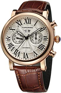 Forsining Men's Luxury Brand Day Calendar Automatic Stainless Steel Case Leather Strap Wrist Watch