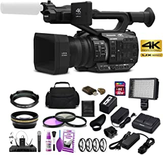 Panasonic AG-UX90E 4K-UHD FHD Camcorder (50 Hz/PAL Model) with Wide Angle Lens + Telephoto Lens + 3 Piece Filter Kit + LED...